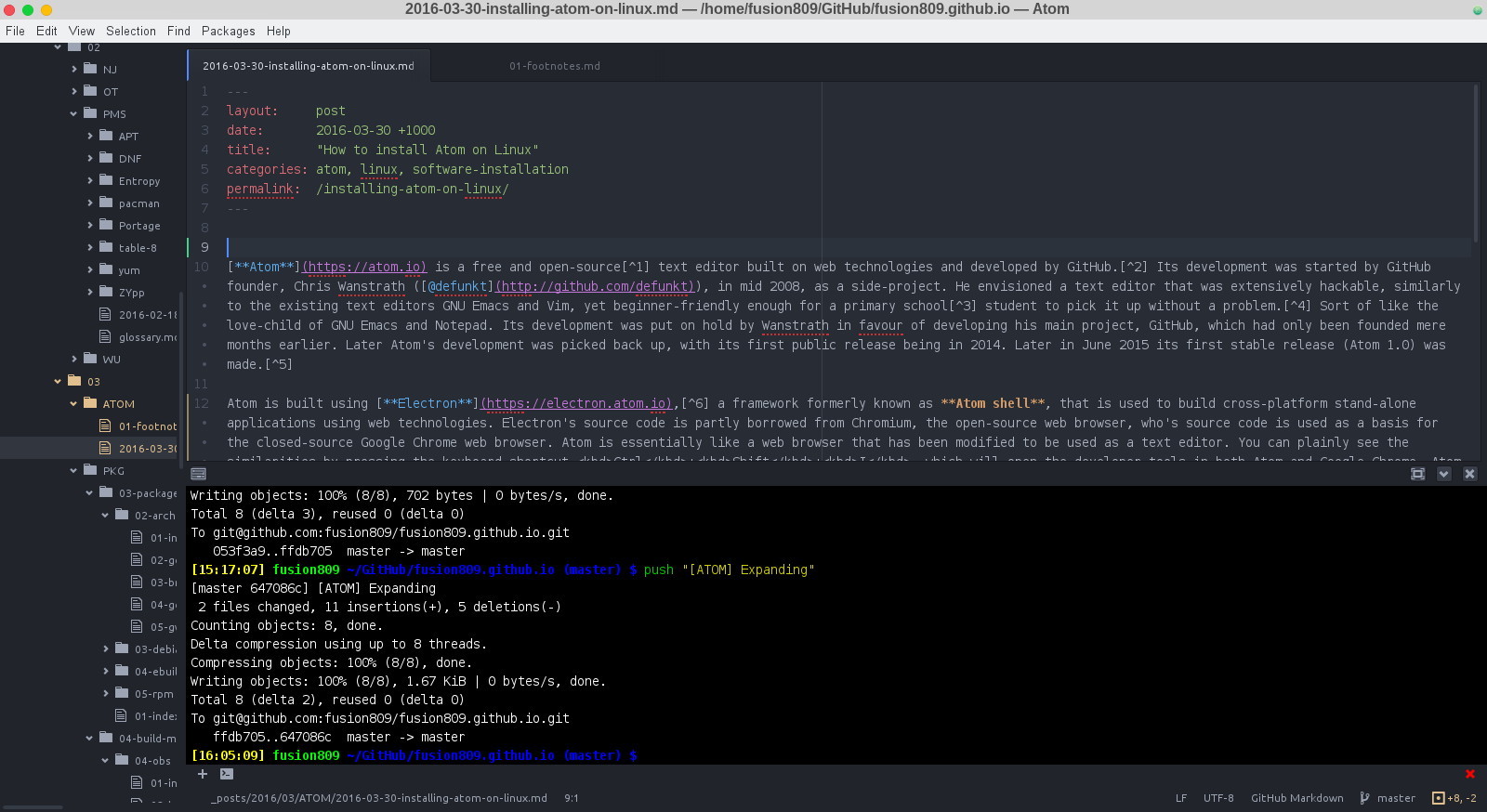 Atom 1.6.0 opened to the source of this very post on *The Hornery*.