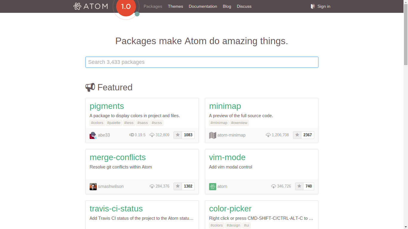 [Atom Packages Repository Homepage](https://atom.io/packages), note the current count of packages is 3,433 in this screenshot.