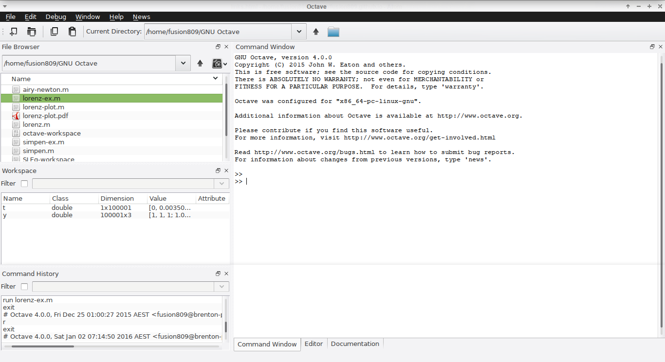 GNU Octave 4.0.0 running under Xfce on Sabayon.