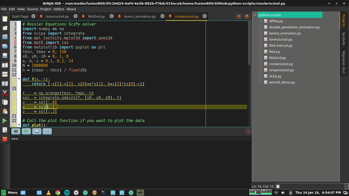 Ninja IDE 2.3.0 running under Manjaro