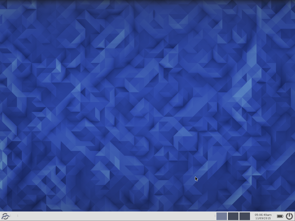 Moksha running under Fedora 23, with the default Fedora 23 wallpaper