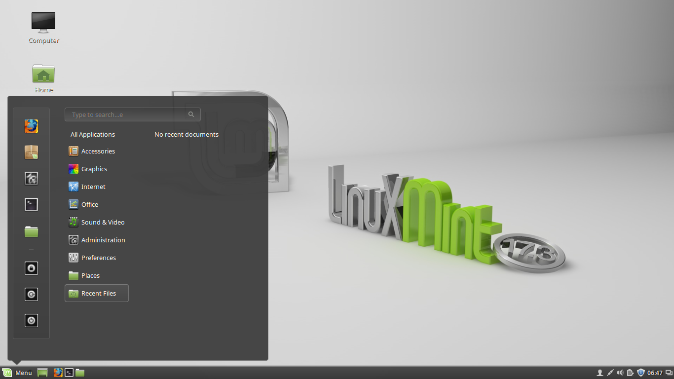 Linux Mint 17.3 with the default Cinnamon desktop