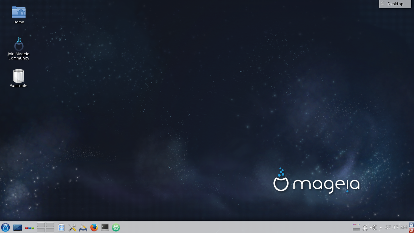 Mageia 5 with its default KDE Plasma 4 desktop.