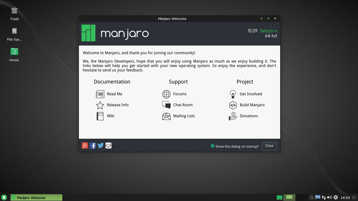 Manjaro Linux Xfce edition.