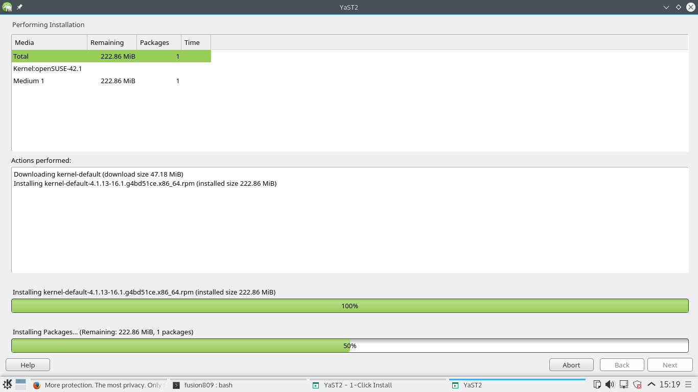 YaST2 running on openSUSE 42.1