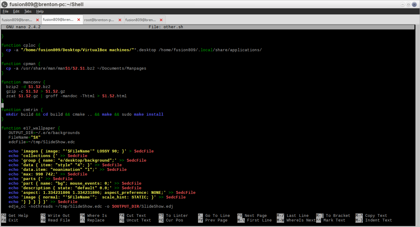 nano 2.4.2 running within LXTerminal under Moksha
